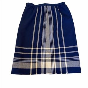Blue Plaid High Waisted Cotton Weaved Midi Skirt